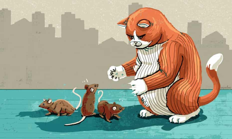 Illustration - of fat cat threatening mice - by Eva Bee