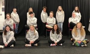 A class of level-three Btec performing arts students at Stagedoor Learning in Cheltenham. Photograph: Jenny Cameron/PA