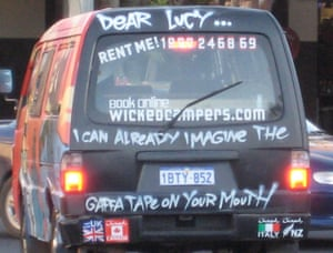 Wicked Camper aimed at Lucy Clark in 2008