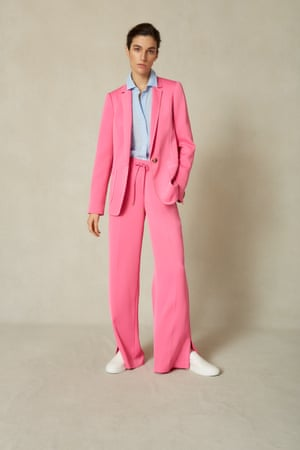 Statement blazer, £275, wide-leg trousers, £185, shirt, £75, and trainers, £195, meandem.com