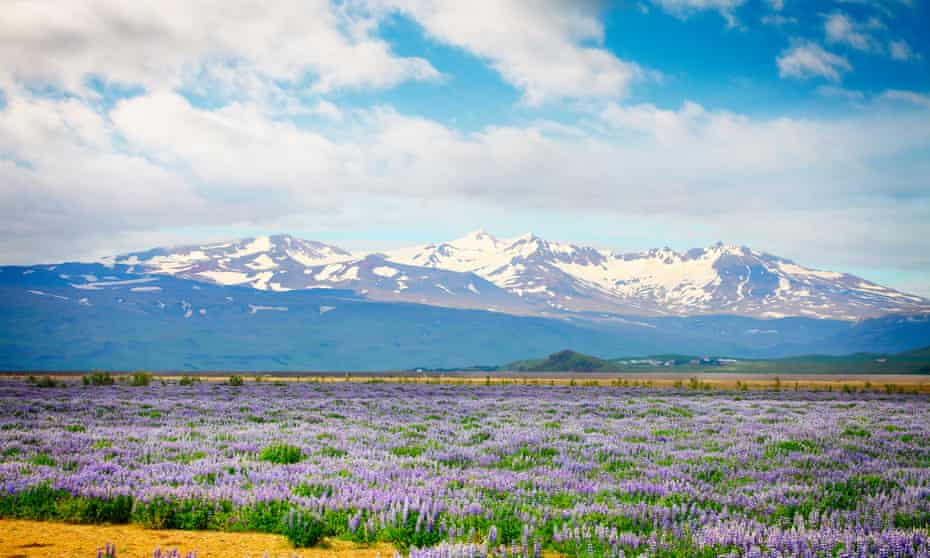 Mountains with Katla volcano in Iceland