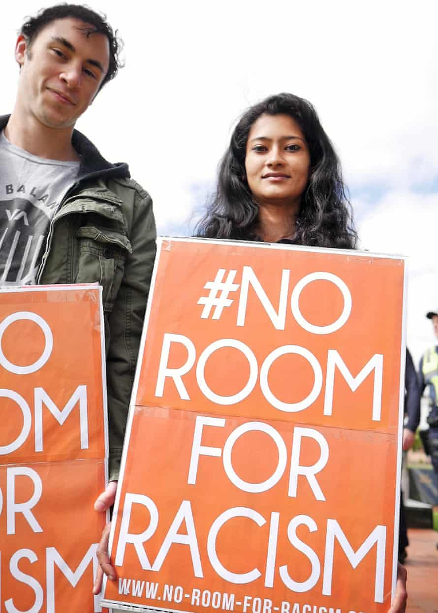 No Room for Racism protesters at a United Patriots Front rally in Melton.