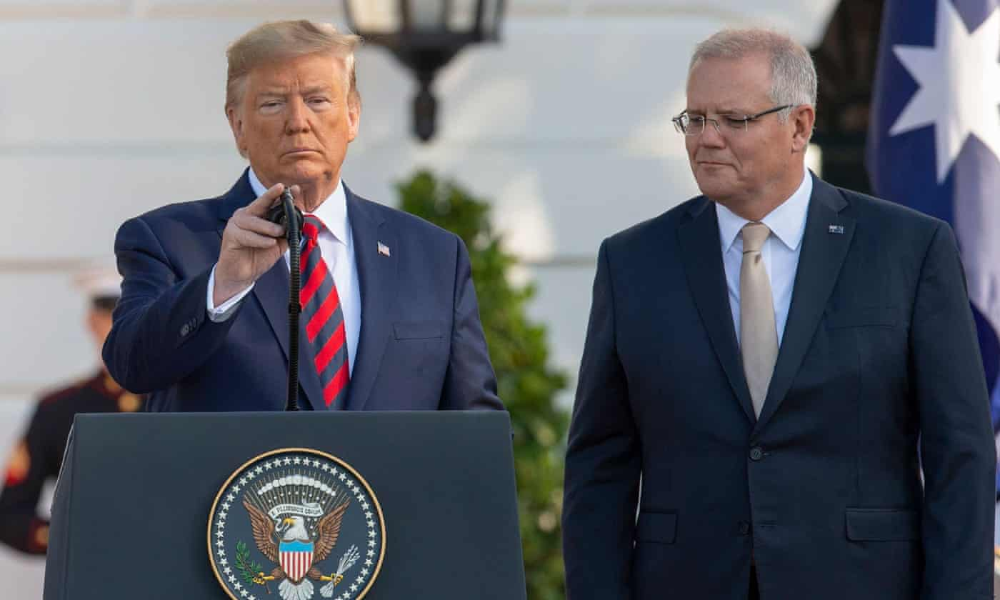 Donald Trump suggests China 'a threat to the world' while praising Scott Morrison as a 'man of titanium'