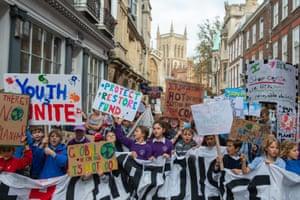Children protest in Cambridge, UK