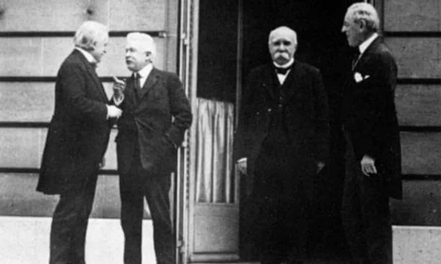 Prime Ministers, left to right, Lloyd George (GB), Orlando (Italy), Clemenceau (France) and President Woodrow Wilson (USA) in Paris, 1919.