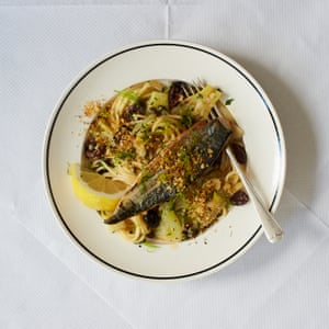 Thomasina Miers' mackerel, fennel spaghetti with anchovy crumbs.