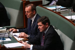 Peanut gallery: Tony Abbott and Kevin Andrews during question time in the house.