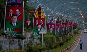 Billboards featuring Chinese president Xi Jinping, centre, with Pakistan's president, Mamnoon Hussain, left, and former prime minister Nawaz Sharif welcome Xi to Islamabad in 2015.