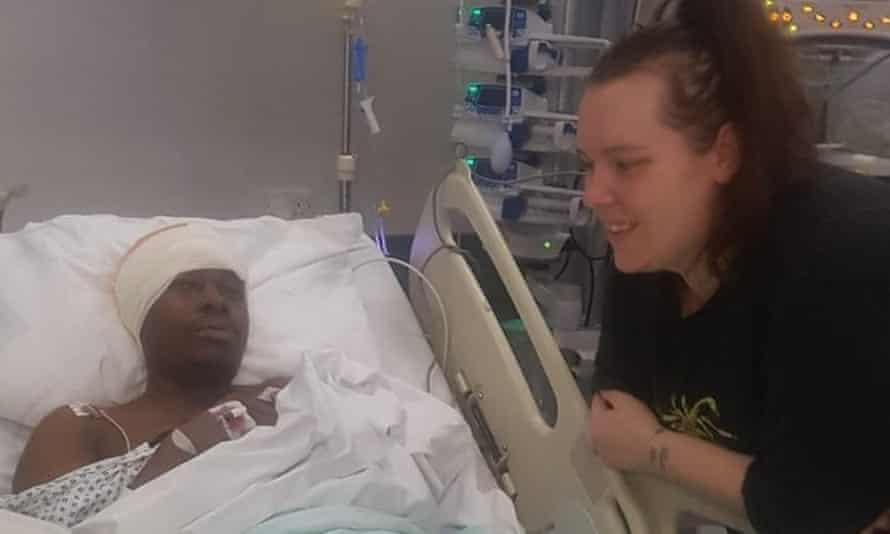 Simba and his partner Melissa in hospital, July 2019.