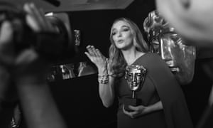 A slightly tearful Jodie Comer with her Bafta television award for leading actress for her role as Villanelle in Killing Eve at the Royal Festival Hall, London