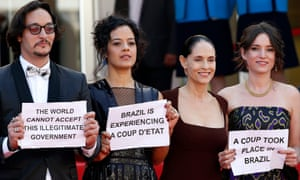 Actors Maeve Jinking and Sonia Braga and producer Emilie Lesclaux continue their protest.