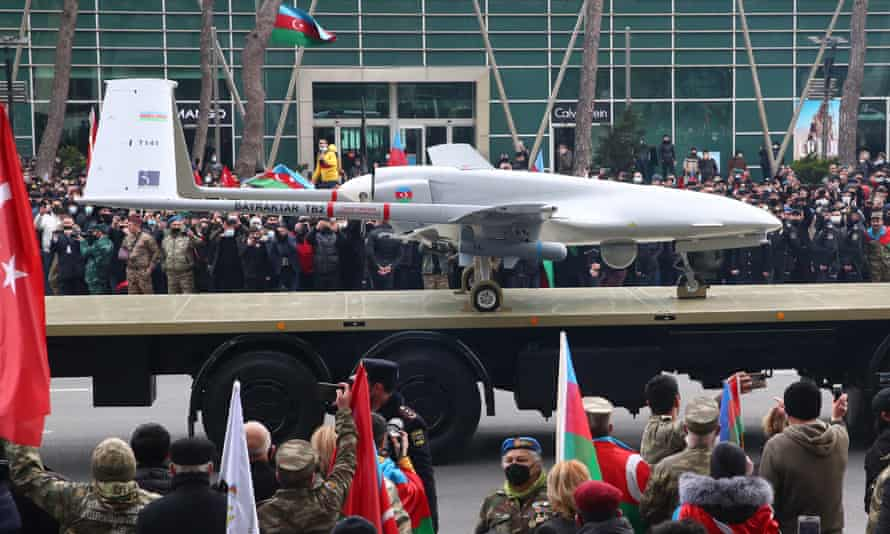 A TB2 drone is displayed during a military parade after the recent fighting in Nagorno-Karabakh between Armenia and Azerbaijan.