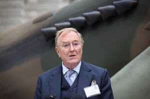 Robert Hardy outside the Churchill War Rooms at a Battle of Britain anniversary celebration in 2010