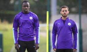 Benjamin Mendy and Bernardo Silva training at Manchester City this month.