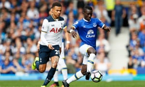 Idrissa Gueye is shadowed by Tottenham's Dele Alli and played a key role in securing a point for Everton.