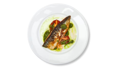 'Its skin is bubbled and crisped': mackerel fillet.