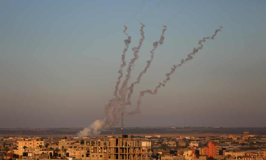 Rockets being fired towards Israel from the southern Gaza city of Rafah on Saturday.