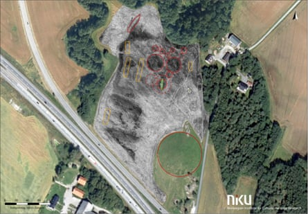 The ship burial forms part of a larger mound cemetery and settlement site next to the monumental Jelle mound.