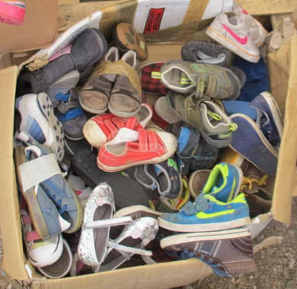 Donated children's shoes in Chios.