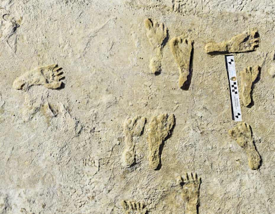 Human fossilized footprints at the White Sands National Park in New Mexico.