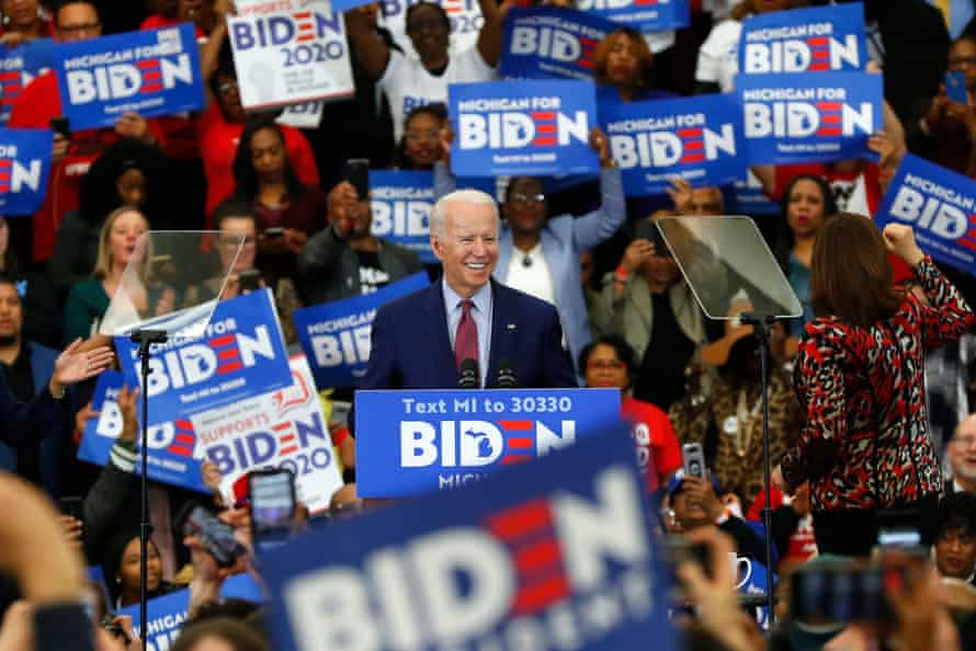 Joe Biden speaks during a campaign rally at Renaissance High School in Detroit on 9 March 2020.