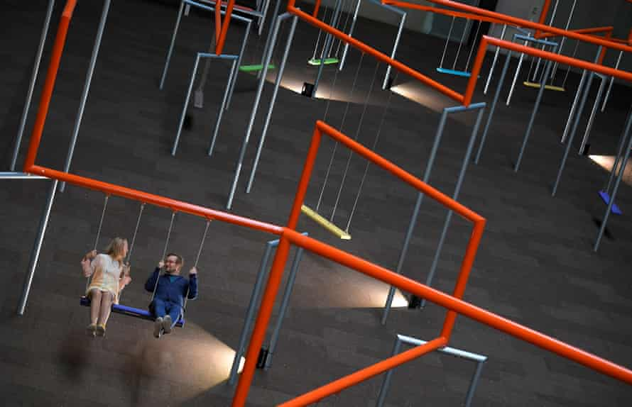 'If I were Hyundai, I'd ask for my ball back': two visitors try out Superflex's One Two Three! at Tate Modern's Turbine Hall.