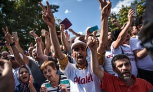 People backing Turkey's main opposition Republican People's party on the March for Justice, in Duzce, 6 July.