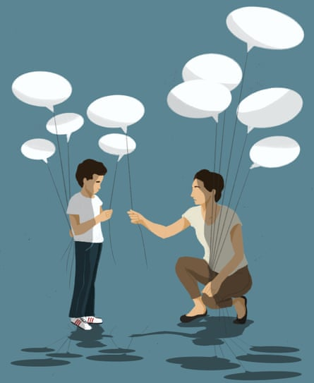 Illustration of woman and child holding speech bubble balloons