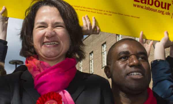 Catherine West and David Lammy during the election campaign.