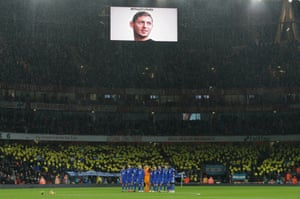 January 29: Cardiff players gather for a period of silence in memory of missing striker Emiliano Sala before playing Arsenal.