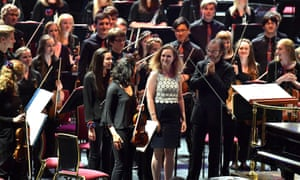 Snow problem … composer Helen Grime with Ilan Volkov and the NYOS at the BBC Proms.