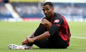 Bournemouth's Callum Wilson contemplates relegation at Goodison Park.