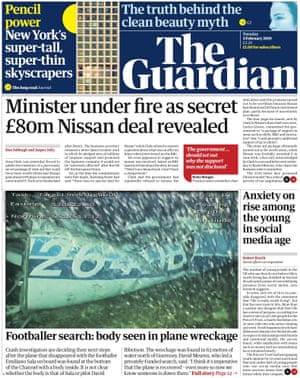 Guardian front page, Tuesday 5 February 2019