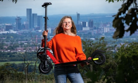 Helen Pidd with her electric scooter on Werneth Low