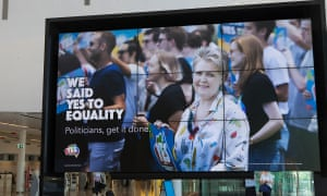 Marriage equality billboards appeared in Canberra within hours of the survey vote results