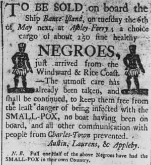 A Boston advertisement for a cargo of about 250 'fine healthy negroes', recently arrived from Africa on the slave ship 'Bante Island'. Circa 1700.