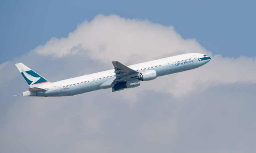A Cathay Pacific passenger jet takes off in Hong Kong