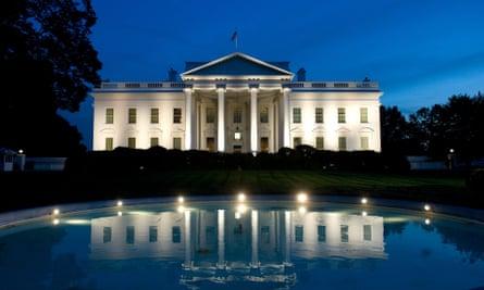 The White House, Washington, seen at night.