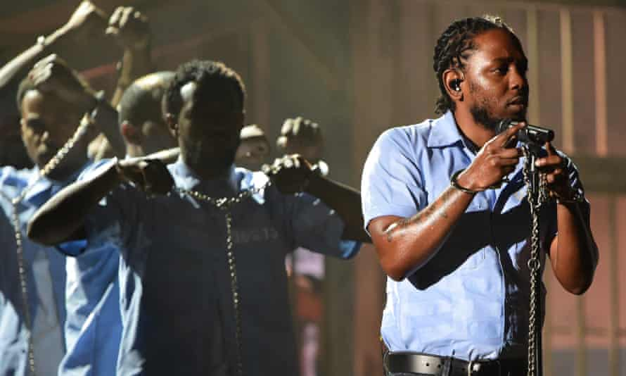 Kendrick Lamar performs onstage at the Grammys