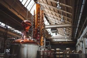 Still and barrels at Koval distillery, Chicago