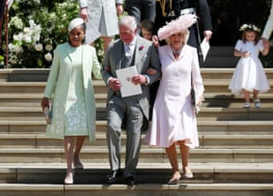 Doria Ragland, mother of the bride, Prince Charles and Camilla, Duchess of Cornwall leave after the ceremomy