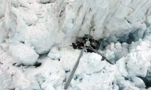Wreckage from the helicopter on the Fox Glacier.