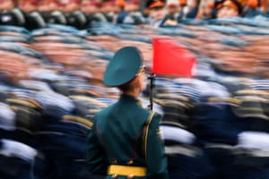 Servicemen march in Red Square in Moscow