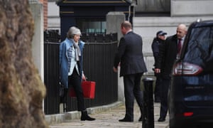 Theresa May leaving Number 10 this afternoon.