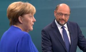 Chancellor Angela Merkel and her challenger Martin Schulz
