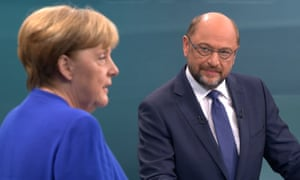 Angela Merkel and Martin Schulz in Germany's election TV debate