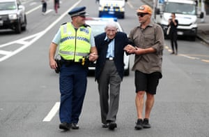 Auckland, New Zealand. John Sato, 95, one of only two Japanese servicemen in the New Zealand army in the second world war, took two buses from Howick to join the march against racism at Aotea Square