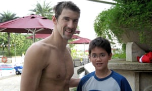 Michael Phelps and Joseph Schooling in Singapore, August 2008.