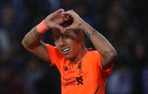 Firmino celebrates scoring Liverpool's fourth.