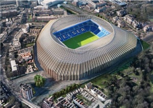 A computer generated image of Chelsea's stadium plans.